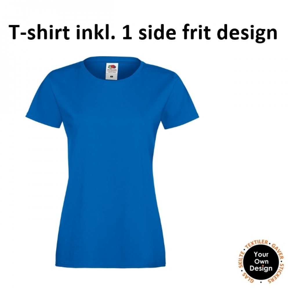 Ladies T-shirt inkl. 1 side frit design-Blue-01