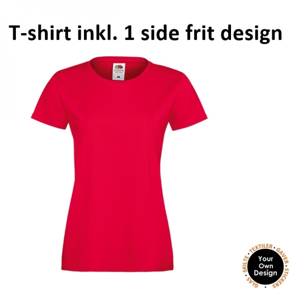 Ladies T-shirt inkl. 1 side frit design-Red-01