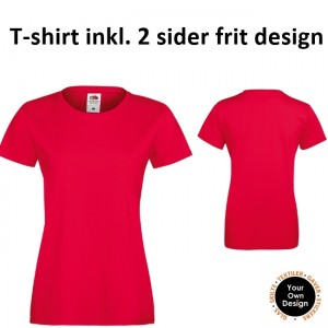 Ladies T-shirt inkl. 2 sider frit design-Red-20